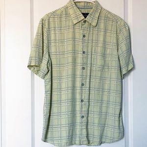 Nat Nast Men's Plaid Silk Shirt Short Sleeves Med